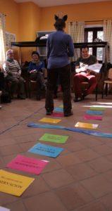 Helen demostrando La danza de los 13 pasos en el I Encuentro de practicantes de CNV organizado por la Asociación para la Comunicación NoViolenta, enero 2012
